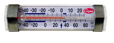 Horizontal Glass Tube Refrigerator Thermometer