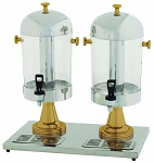 2 x 7-1/2 Qt. Gold Accents Double Juice Dispensers