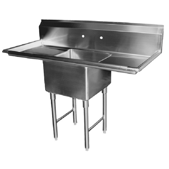 GSW SE18181R One Compartment Stainless Prep Sink w/ 2 Drain Boards