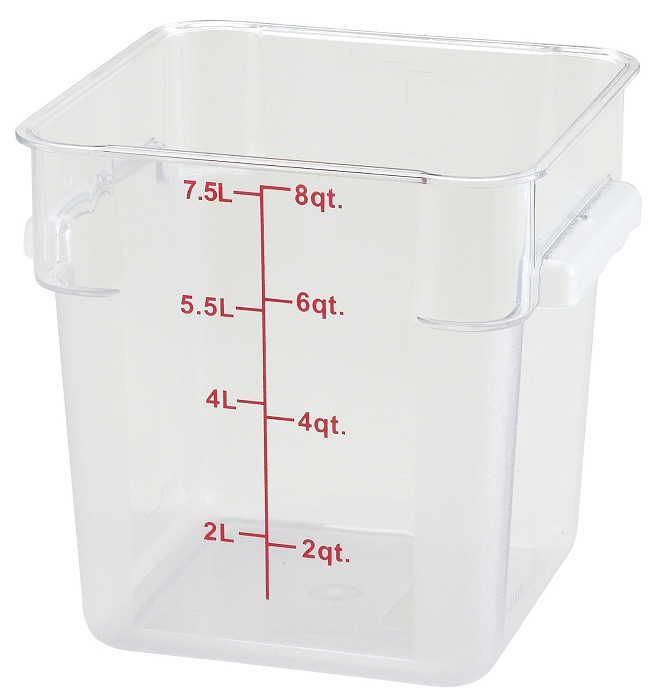 8qt Square Food Storage Container Clear Polycarbonate