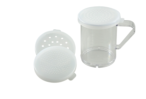 10 Oz Polycarbonate Dredge w/3 Snap-on Lids