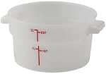 2 Quart Round Food Storage Container White Polypropelyne