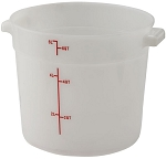 6 Quart Round Food Storage Container White Polypropelyne