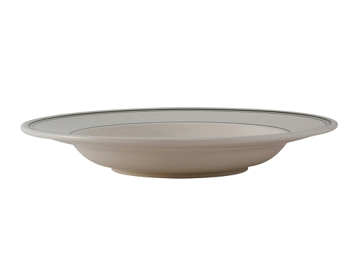 26oz Pasta Bowl Wide Rim in Eggshell with Green Bands (dz)