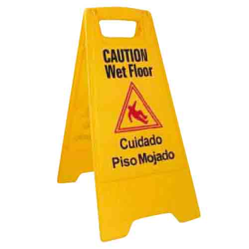 Wet Floor Caution Sign, Yellow,