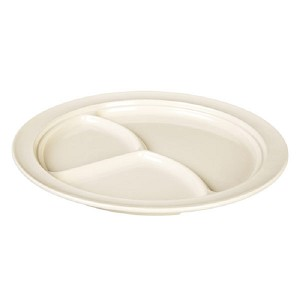 "10-1/4"" Melamine 3 Compartment Plate Nustone Tan (each)"