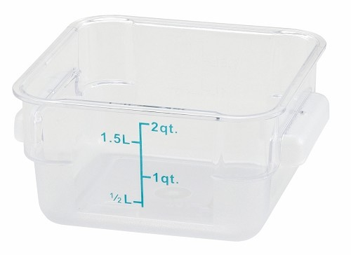 2qt Square Food Storage Container Clear Polycarbonate