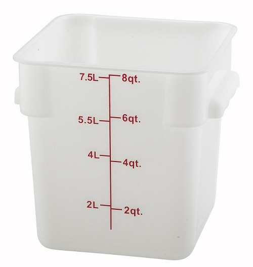 8qt Square Food Storage Container White Polyproplene