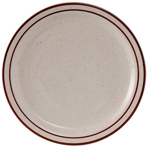 "10-1/2"" Plate Narrow Rim Eggshell with Brown Speckle (dz)"