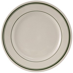 "10-1/2"" Plate Wide Rim in Eggshell with Green Bands (dz)"