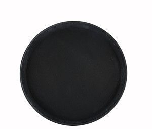 "11"" Black Round Rubber-Lined Easy-Hold Tray"