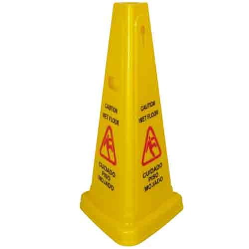 Tri-Cone Wet Floor Caution Sign, 27